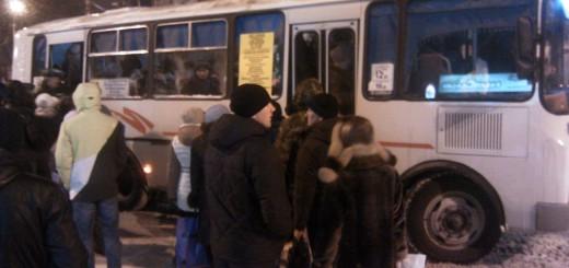 Автобусная остановка, Воронеж, зима 2014-2015
