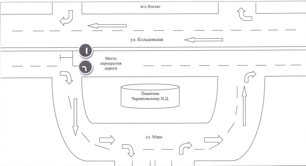 Схема объезда памятника на ул. Кольцовской