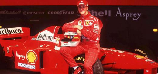 М. Шумахер на фоне F310B, 1997 год
